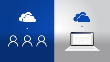 على الجانب الأيمن، يظهر كمبيوتر محمول مع مستند وسهم لأعلى يشير إلى شعار OneDrive، وعلى الجانب الأيسر، يظهر شعار OneDrive مع سهم لأسفل يشير إلى رموز لثلاثة أشخاص