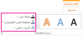 """المجموعة """"أنماط WordArt"""" في """"أدوات الرسم"""" ضمن علامة التبويب """"تنسيق"""""""