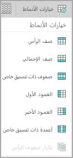 خيارات انماط الجدول Windows Mobile