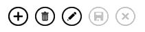 """شريط الإجراءات يعرض الأزرار """"إضافة"""" و""""حذف"""" و""""تحرير"""" و""""حفظ"""" و""""إلغاء الأمر""""."""