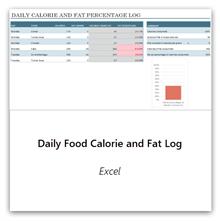 حدد هذا الخيار للحصول على قالب السجل اليومي للسعرات الحرارية والدهون في الطعام.