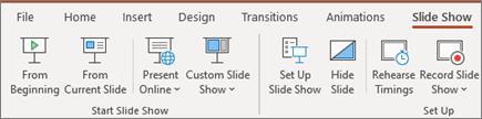عرض الشرائح في Office 365 PowerPoint