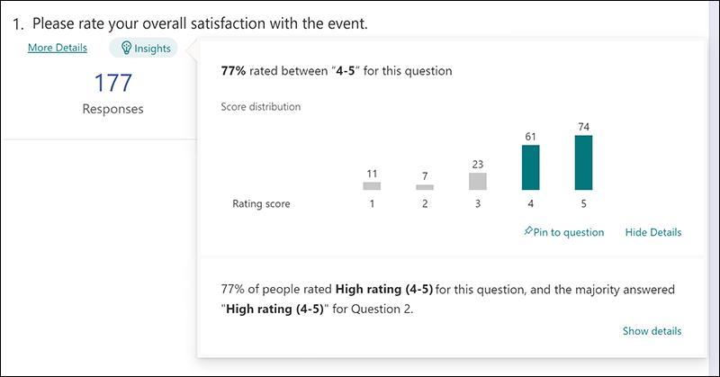 "Insights على علامة التبويب ""الاستجابات"" في Microsoft Forms"