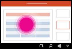 تحديد جدول إيماءة PowerPoint for Windows Mobile