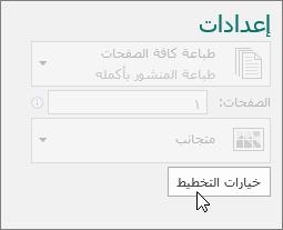 خيارات التخطيط في اعدادات الطابعه Publisher.