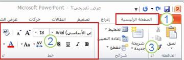 مثال حول شريط PowerPoint. عناصر.