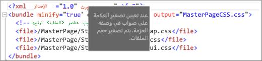 """لقطة شاشة للعلامة """"minify"""" معينة إلى صواب"""