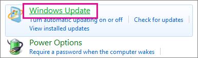 """ارتباط Windows Update في """"لوحة التحكم"""""""
