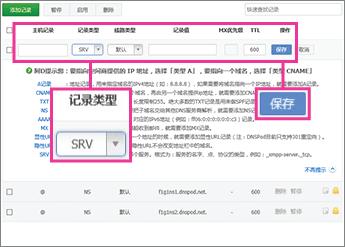 إضافة سجل SRV