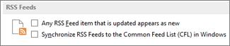 """قسم موجزات ويب لـ RSS في مربع الحوار """"خيارات"""""""