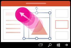 تغيير حجم شكل إيماءة PowerPoint for Windows Mobile