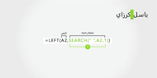 صيغة لفصل الاسم الأول واسم العائلة، بالإضافة إلى الحرف الأول من الاسم الأوسط