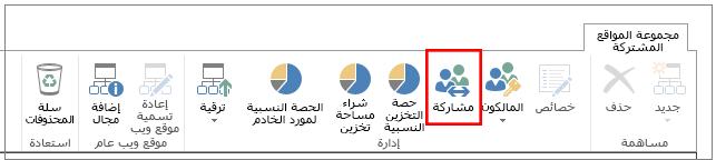 """شريط من مركز إدارة SharePoint Online حيث تم تمييز الزر """"مشاركة"""""""