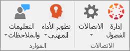قائمة الرموز بما في ذلك إدارة الفئات والاتصالات والتطوير المهني والتعليمات والملاحظات.