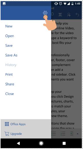 اضغط على أيقونة الإعدادات في Word for Android