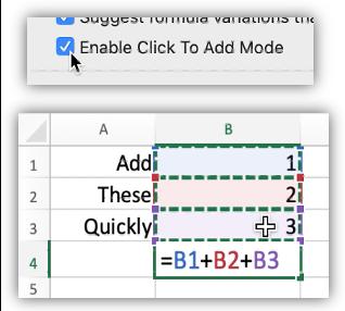 """لقطة شاشة تعرض التفضيل""""وضع النقر للإضافة"""" وبعض الخلايا التي تحتوي على صيغة بسيطة لإضافة بعض الخلايا."""