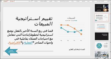 عرض تقديمي يعرض شريحة تحتوي على مخطط ونص يضم اثنين من الارتباطات التشعبية