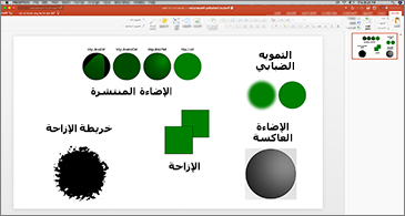 شريحة بها أمثلة على عوامل التصفية SVG