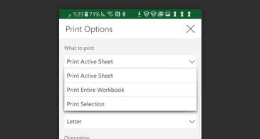 """مربع الحوار """"طباعة"""" يحتوي على قائمة تضم خيارات الطباعة المتوفرة"""