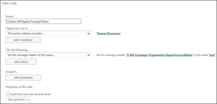 """لقطة شاشة: إنشاء قاعدة جديدة """"لعلبة الوارد المركّز عليه"""" وحفظها"""