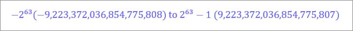 """نطاق نوع البيانات """"رقم كبير"""""""