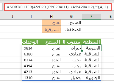الدالتان FILTER وSORT معاً - تصفية حسب المنتج (تفاح) OR أو حسب المنطقة (شرق)