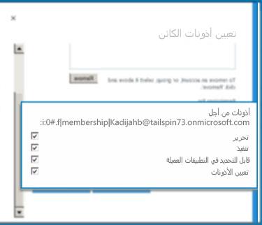 """لقطة شاشة لمربع الحوار """"تعيين أذونات الكائن"""" في SharePoint Online. استخدم مربع الحوار هذا لتعيين الأذونات """"لنوع محتوى خارجي"""" محدد."""
