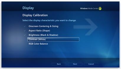 معايرة العرض في Windows Media Center