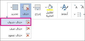 """صورة لجزء من القائمة المنبثقة التي يتم فتحها عندما تُحدد محتويات إحدى خلايا الجدول في Word Online، مع تمييز الخيار """"حذف الجدول""""."""