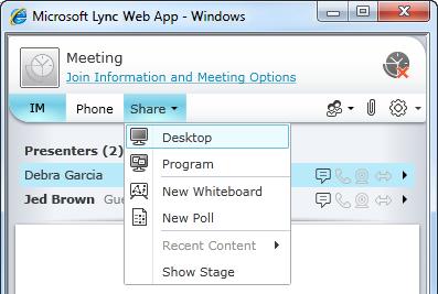 """القائمة """"مشاركة"""" في Lync Web App"""