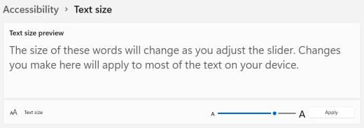 Windows شريط تمرير حجم النص 11