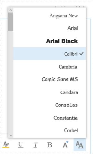 تغيير نوع الخط في Outlook على الويب.