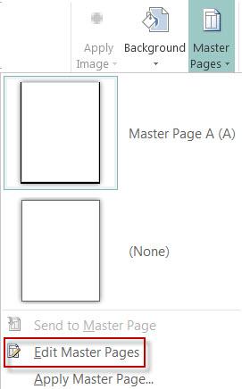 """تحرير """"صفحات رئيسية"""" في Publisher 2013."""