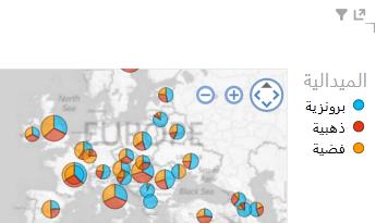 تطبيق لون على مرئيات خريطة Power View
