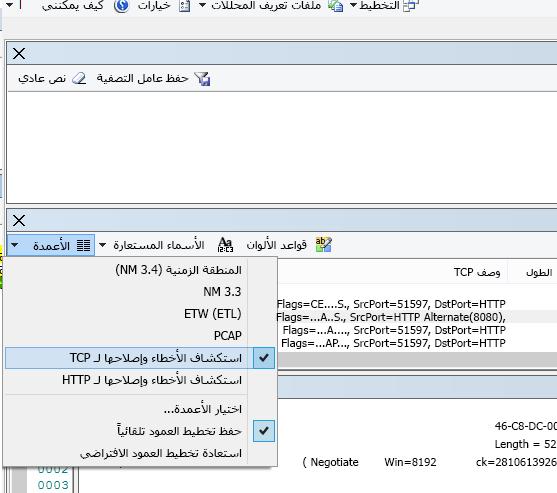 """المكان الموجودة فيه القائمة المنسدلة """"أعمدة"""" للخيار """"استكشاف أخطاء TCP وإصلاحها"""" (في أعلى """"ملخص الإطار"""")."""