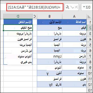 استخدام UNIQUE مع نطاقات متعددة لسلسله أعمده الاسم الأول/اسم العائلة في الاسم الكامل.