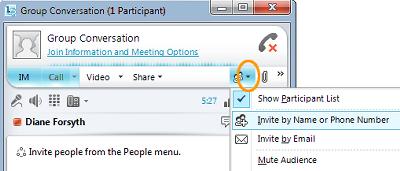 """""""دعوة أشخاص"""" في Lync"""