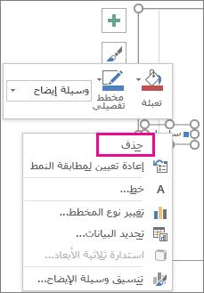 """الأمر """"حذف"""" على القائمة المختصرة """"تنسيق خط وسيلة الإيضاح"""" في Excel"""