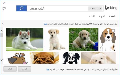 لقطة شاشة لمربع الحوار حيث يمكنك إضافة قصاصة فنية في تطبيقات Office.