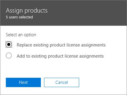 """الخيار """"استبدال تعيينات تراخيص المنتجات الموجودة"""" في جزء """"تعيين المنتجات""""."""