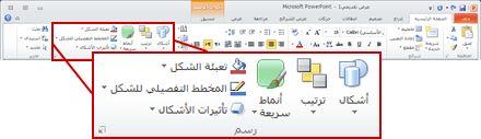 """المجموعة """"الرسم"""" ضمن علامة التبويب """"الصفحة الرئيسية"""" في شريط PowerPoint 2010."""