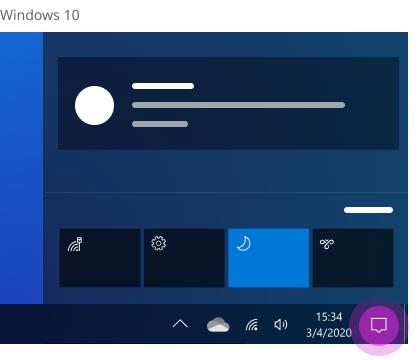 مركز الإجراءات في Windows 10.