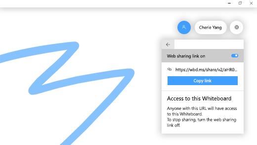 """يُظهر زر التبديل الخاص بـ """"ارتباطات مشاركة الويب"""" قيد التشغيل في Microsoft Whiteboard."""