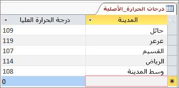 بيانات أصلية في جدول Access