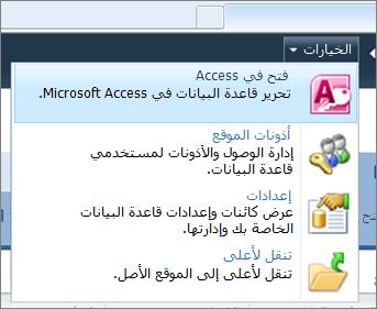 """القائمة """"خيارات"""" في موقع قاعدة بيانات ويب على SharePoint"""