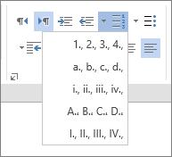 """لقطة شاشة للخيار """"ترقيم"""" في """"مجموعة الفقرات"""" على علامة التبويب """"الشريط الرئيسي""""، مع خياري الرقم والحرف للقوائم المتتالية."""