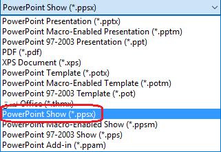 """تتضمن قائمة أنواع الملفات في PowerPoint """"PowerPoint Show (.ppsx)"""""""