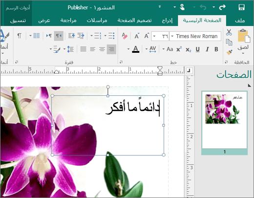 لقطة شاشة لمربع نص في صفحة ملف Publisher.