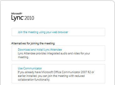 """شاشة """"الانضمام إلى الاجتماع"""" في Lync 2010"""