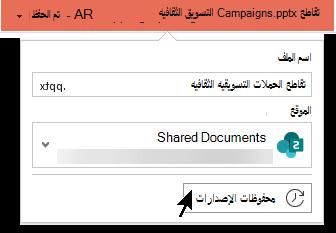 تحديد اسم الملف في شريط العنوان للوصول إلى محفوظات الإصدارات الخاصة بالملف